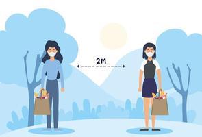 kvinnor med ansiktsmasker som övar social distansering utomhus