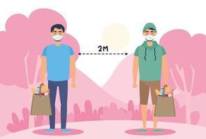människor med ansiktsmasker som övar social distansering utomhus vektor