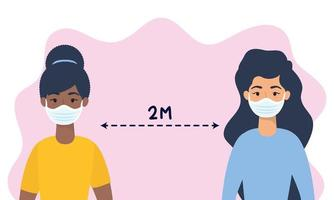 Frauen mit Gesichtsmasken üben soziale Distanzierung