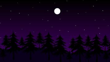 Sterne und Mond im dunklen Wald in der Nacht vektor