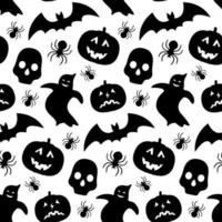 Muster mit Kürbis-, Fledermaus-, Geister- und Schädel-Silhouetten vektor