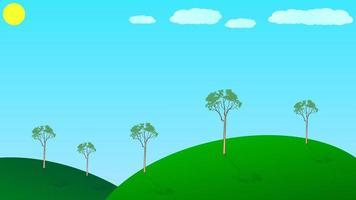 einfache Tageslichtlandschaft mit Bäumen und Wolken vektor