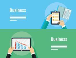 Business und Corporate Template Banner Set mit Tablet vektor