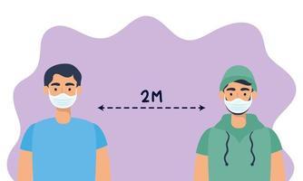 män med ansiktsmasker som övar social distansering vektor