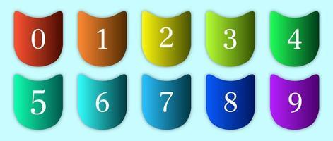 uppsättning siffror i välvda färgglada lutningar vektor
