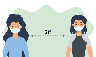 kvinnor med ansiktsmasker som övar social distansering vektor