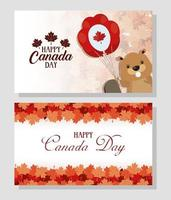 glad Kanada dag firande banner set vektor