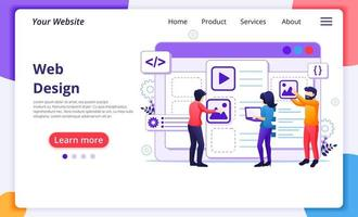 Webdesign-Konzept, Leute, die ein Webanwendungsdesign erstellen vektor
