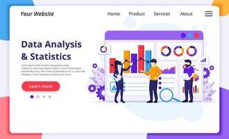 dataanalys koncept, människor arbetar framför en stor skärm. revision, finansiell rådgivning. modern platt webbdesign för webbplats- och mobilutveckling. vektor illustration
