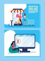 online-shopping och e-handelsbanneruppsättning vektor