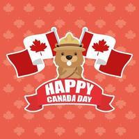 glad Kanada dag firande banner med bäver