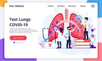 pulmonologi koncept, läkare kontrollera mänskliga lungor för infektioner vektor