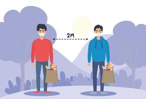 Menschen mit Gesichtsmasken üben im Freien soziale Distanzierung
