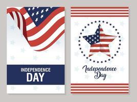 usa oberoende dag firande banner set vektor