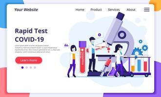snabba testkoncept för covid-19 coronavirus sjukdom med forskare som arbetar vid medicin laboratorium. modern platt webbdesign för webbplats- och mobilwebbplatsutveckling. vektor illustration