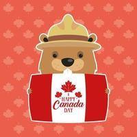 glad Kanada dag firande banner med bäver vektor