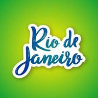 Rio de Janeiro handritad bokstäver på lutning vektor