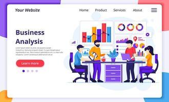 affärsanalys koncept, människor som sitter på skrivbord arbetar med diagram och grafisk datavisualisering. modern platt webbdesign för webbplats- och mobilutveckling. vektor illustration