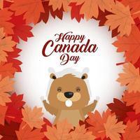 Happy Canada Day Feier Banner mit Biber