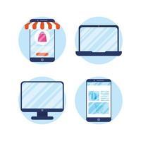 online shopping och e-handel Ikonuppsättning vektor