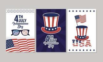 USA Unabhängigkeitstag Feier Banner Set