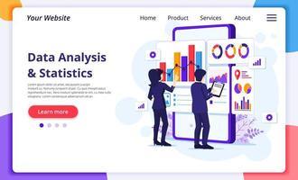 koncept för dataanalys, människor arbetar framför en stor mobiltelefon. revision, finansiell rådgivning. modern platt webbdesign för webbplats- och mobilutveckling. vektor illustration