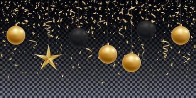 realistisch glänzende goldene und schwarze Kugeln, Stern und Konfetti