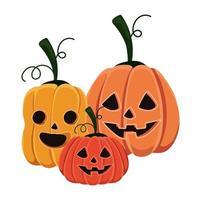 Halloween Kürbisse Cartoons Design vektor