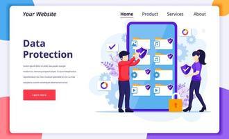 dataskyddskoncept, människor som skyddar data och filer på en gigantisk smartphone. modern platt målsidesdesign för webbplats och mobilwebbplats. vektor illustration