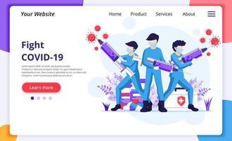 Kampf gegen das Virus-Konzept, Arzt und Krankenschwestern verwenden Spritzen zur Bekämpfung des Covid-19-Coronavirus. moderne flache Web-Landingpage-Entwurfsvorlage. Vektorillustration