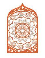 Mandala im Rahmen orange Design vektor