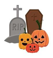 Halloween Kürbisse Cartoons mit Gräbern vektor