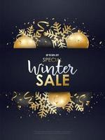 Winterverkaufsdesign mit goldenen und schwarzen Weihnachtsdekorationen.