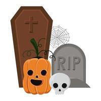 halloween pumpa och skalle framför graven vektor