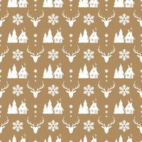 jul sömlösa mönster med rådjur, snöflinga och trähus.
