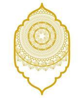Mandala im Rahmen Gold Design vektor