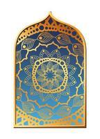 Mandalagold im blauen Rahmendesign vektor