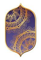 Mandalas Gold in lila Rahmen Design vektor