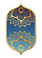 Mandalas Gold im blauen Rahmendesign vektor
