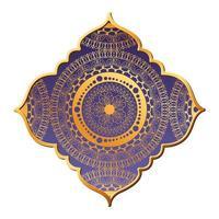 Mandalagold in lila Rahmengestaltung vektor