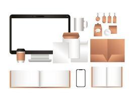 mockup-surfplatta med smartphone-anteckningsböcker och etikettdesign