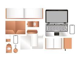 mockup laptop smartphone och företagsidentitet uppsättning design