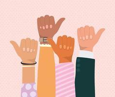 wie Zeichen mit Händen verschiedener Arten von Häuten