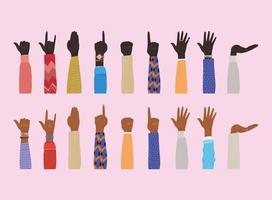 Hände hoch von verschiedenen Arten von Skins Design