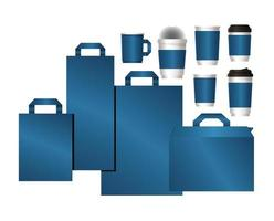 Modell-Set von Taschen und Bechern mit blauem Branding