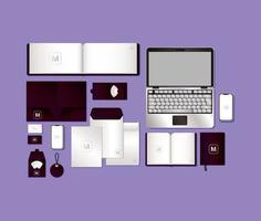 mockup set med mörk lila branding design