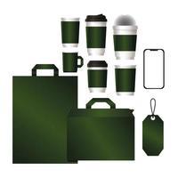 Modell mit grünem Branding-Design