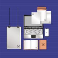 bärbar dator och branding mockup set design