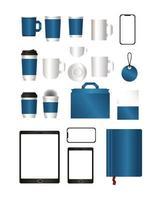mockup set med blå branding design