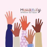 mänskligheten annorlunda men lika och mångfalden öppnar händerna
